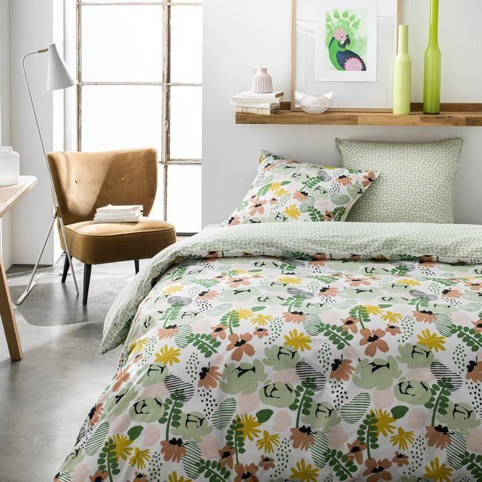 Parure de lit 2 personnes 220X240 Coton imprime vert Floral SUNSHINE