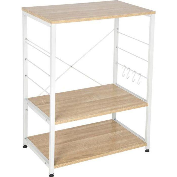 WOLTU Étagère four à micro-ondes,étagère de cuisine en bois massif et cadre avec de l'acier,60x39x74cm, Blanc+chêne clair