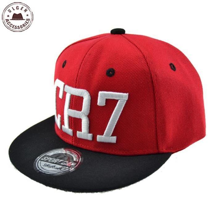 Rouge -Casquette de Baseball pour enfants, Cristiano Ronaldo CR7, casquette noire pour garçons et filles, style hip hop, nouvelle co