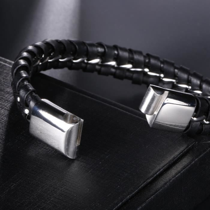 Bracelet homme Acier inoxydable Cordon Noir