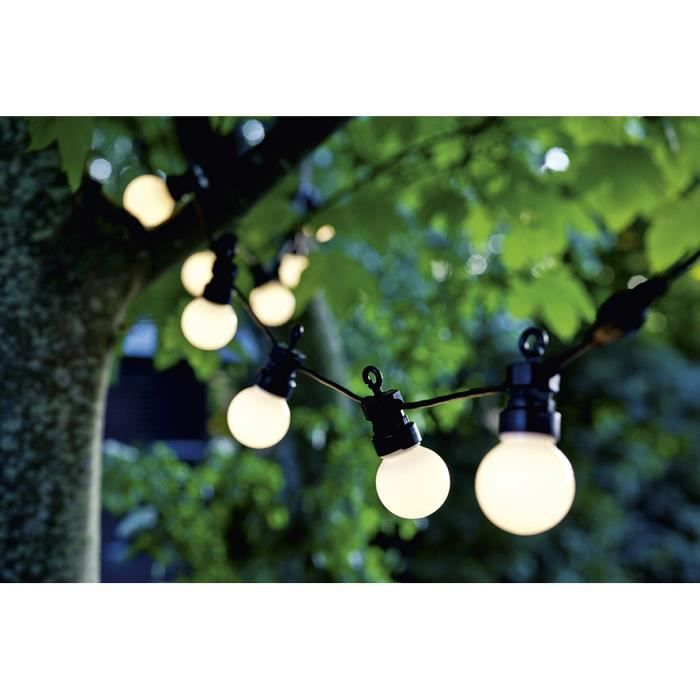 Guirlande lumineuse d 39 ext rieur led 10 boules blanches - Guirlande exterieur lumineuse ...