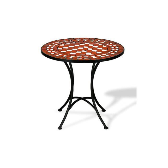 table mosaique fer forg jardin 70x60cm achat vente. Black Bedroom Furniture Sets. Home Design Ideas