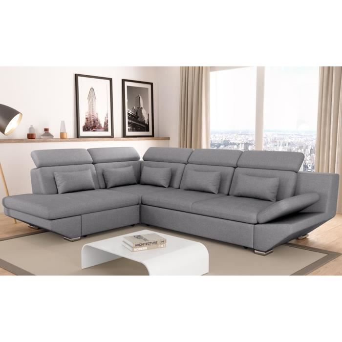 canap convertible avec tiroir tissu gris fonc bali angle droit achat vente canap sofa. Black Bedroom Furniture Sets. Home Design Ideas