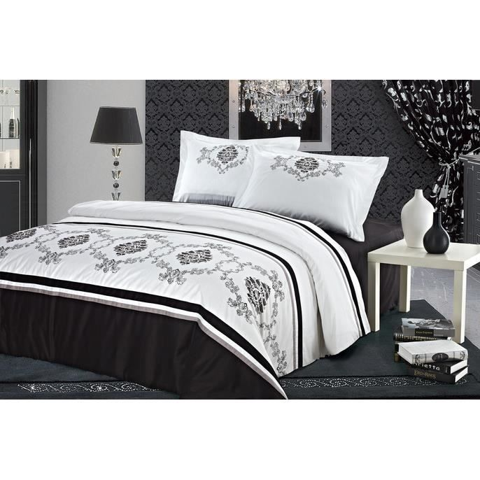 parure housse de couette brodee achat vente housse de. Black Bedroom Furniture Sets. Home Design Ideas