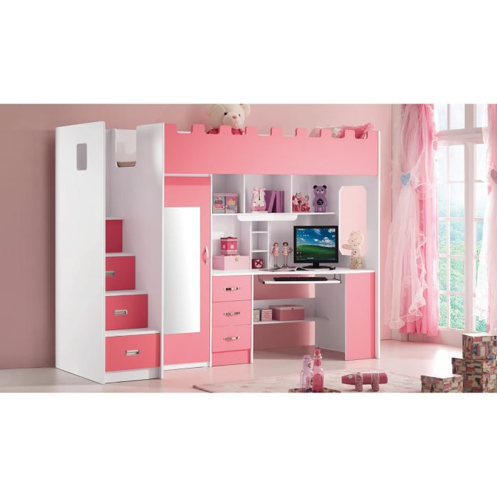 lit multifonction pour fille lolo rose achat vente. Black Bedroom Furniture Sets. Home Design Ideas