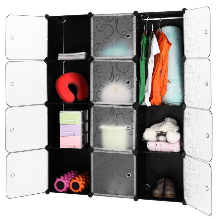 ARMOIRE DE CHAMBRE LANGRIA 12 Cubes Armoire Penderie Motif Garde-robe