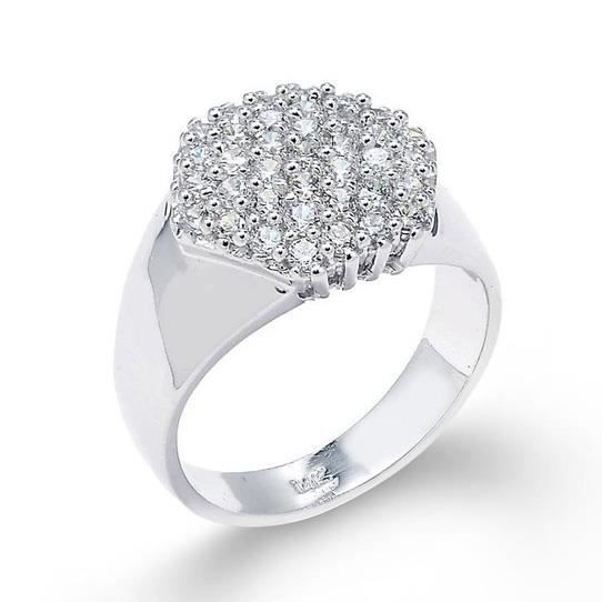 Bague Femme 14 ct Or Blanc 585/1000 Diamant Coupee