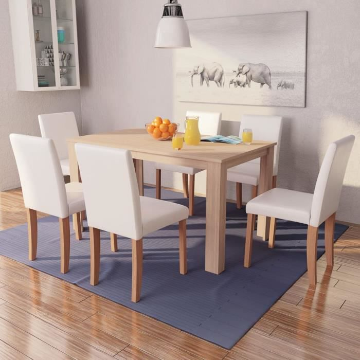 Table et chaises 8 pcs Cuir synthétique Chêne Couleur crème