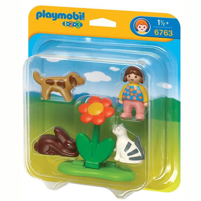 playmobil 1 2 3 fillette avec animaux domestiques achat. Black Bedroom Furniture Sets. Home Design Ideas