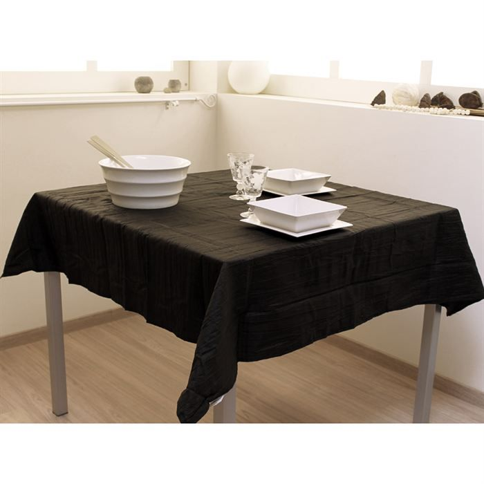 nappe carree 140x140 cm bambou noir effet froisse achat vente nappe de table cdiscount. Black Bedroom Furniture Sets. Home Design Ideas