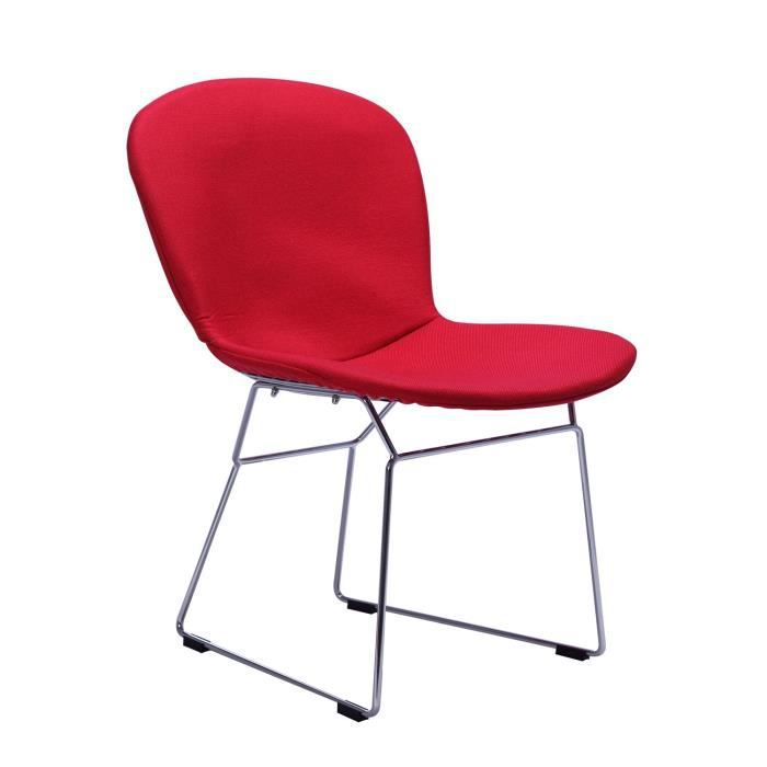 Chaise bertoia tapissee classic fabric rouge unica for Bertoia chaise prix
