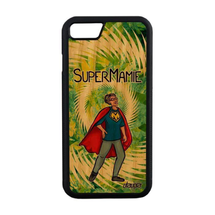 Coque iPhone 7 bois silicone super mamie heros com