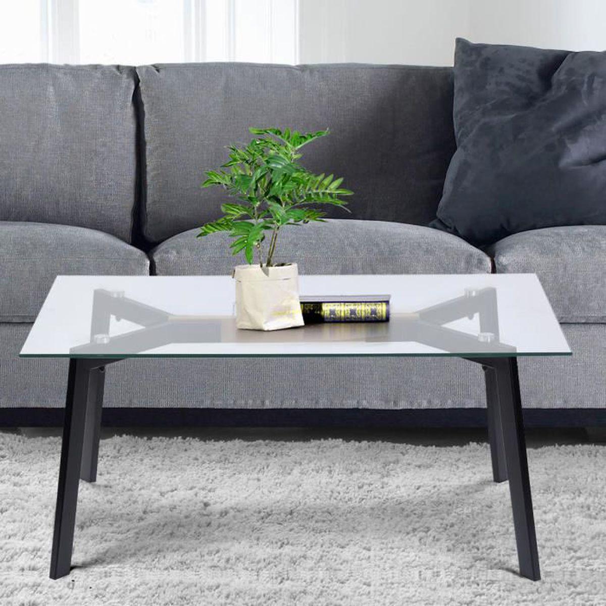 Plastique Relaxdays gigognes Design carr/é,Table Basse pour Salon 45 x 45 x 45 cm Hauteur 40/à45 cm,Noire Combinaison Verre et Bois MDF 2