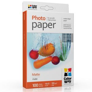 PAPIER PHOTO Colorway PM1901004R, Matte, 190 g-m², Jet d'encre,