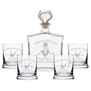 WHISKY BOURBON SCOTCH 5 pièces. cadeau bouteille de whisky 4x verres mis