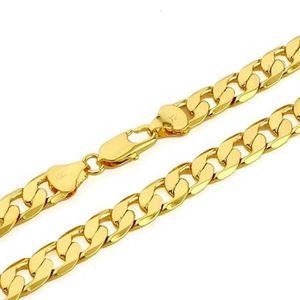 CHAINE DE COU SEULE collier solide plaqué or 24k jaune collier gourmet