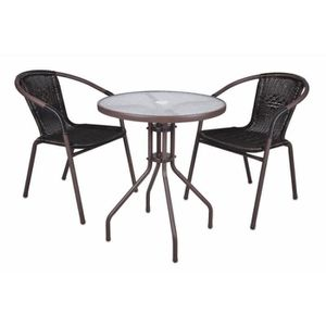 2 chaises bistro empilable table ronde verre