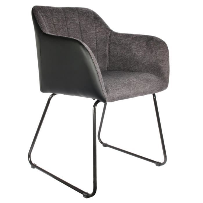 Poufs fauteuils et chaises - Fauteuil Menphis - L 56 x P 60,5 x H 84 cm - Gris et Noir