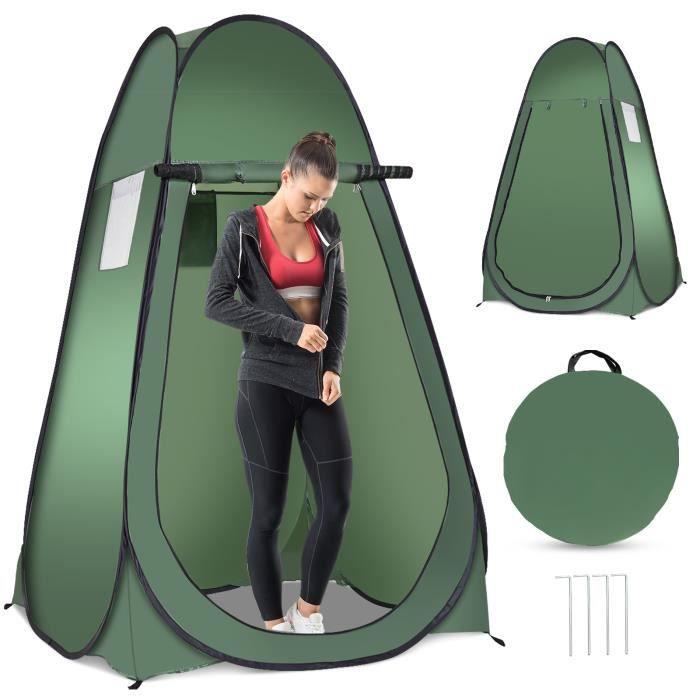 Tente de Douche Portable 120 x 120 x 190 CM Cabinet de Changement Camping en Polyester pour Randonnée Vert