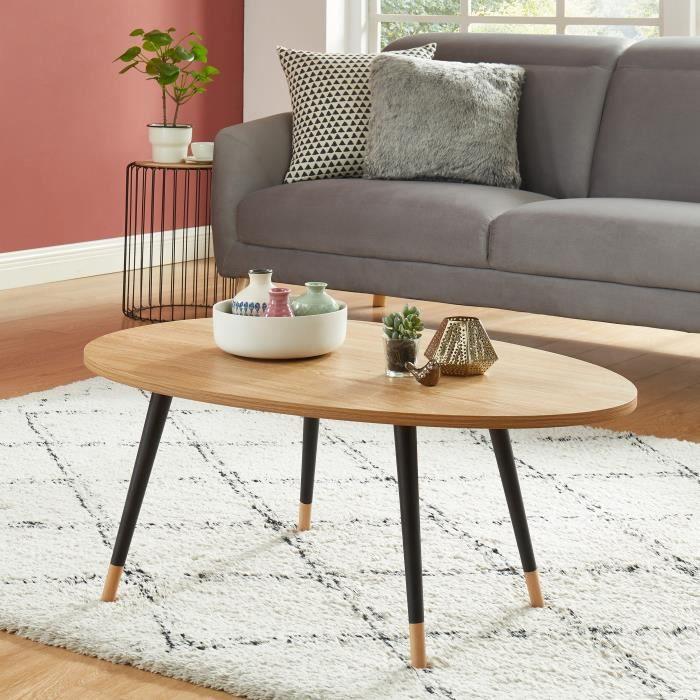 ORGANIC Table basse ovale - coloris bois et noir - L98cm