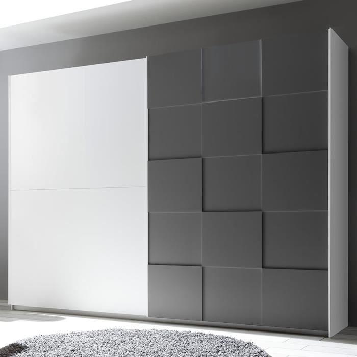Armoire 275 cm design blanc et gris laqué TIAVANO Gris L 275 x P 64 x H 210 cm