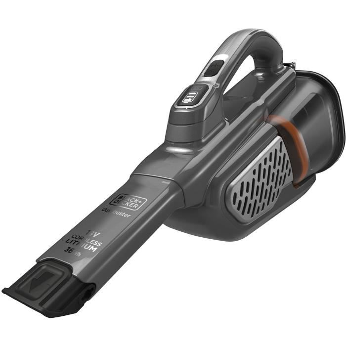 BLACK+DECKER BHHV520JF-QW - Aspirateur à main - Dustbuster Lithium 18V - 2 vitesses - Autonomie 40min - Noir argent Titanium