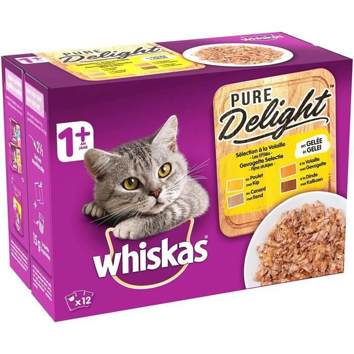 Whiskas Pure Delight - Sachets fraîcheur pour chat adulte, sélection à la volaille en gelée, 48 sachets repas de 85g