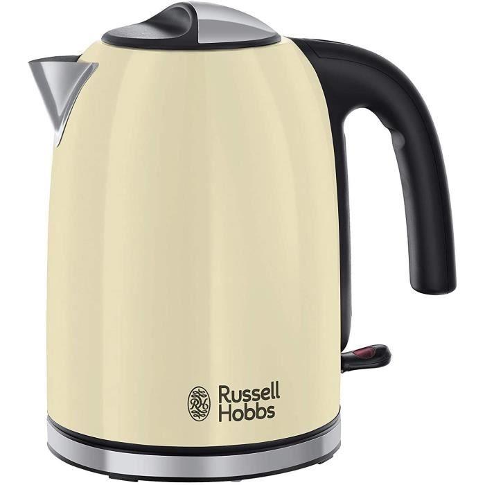 Russell Hobbs 20415-70 Bouilloire Familiale 1,7L Colours Plus, Ebullition Rapide, Filtre Anti-Calcaire Amovible Lavable - Crème