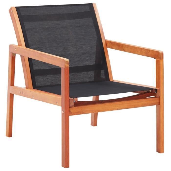 Chaise de jardin Fauteuil de Jardin Noir Bois d'eucalyptus solide et textilène Nouveau *526863