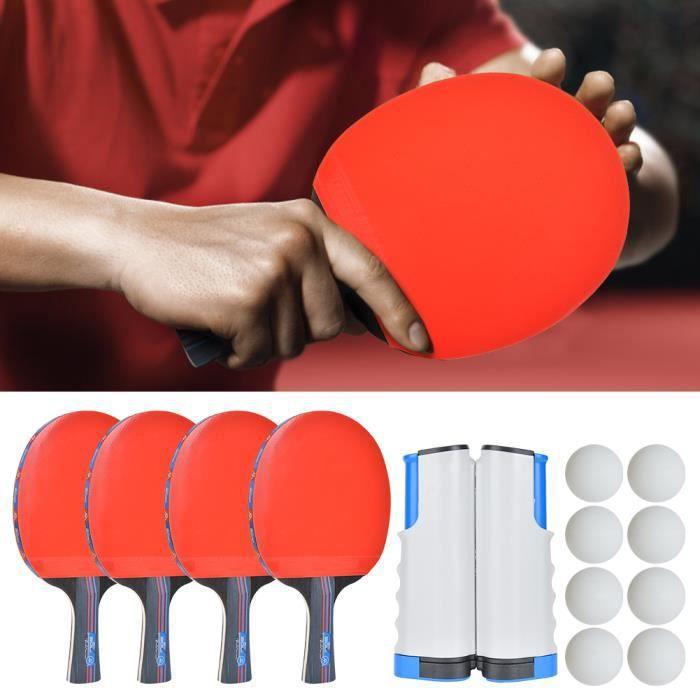 Kit Entraînement de Tennis de Table Intérieur Extérieur Support de Filet Raquettes Balle de Ping-Pong-ALI