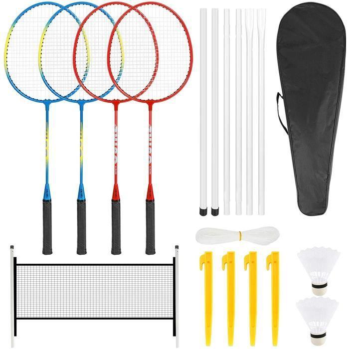 Ensemble de raquettes de badminton complet de raquettes de badminton avec 2 volants, 4 raquettes, 4 clous, un filet et 6 poteau