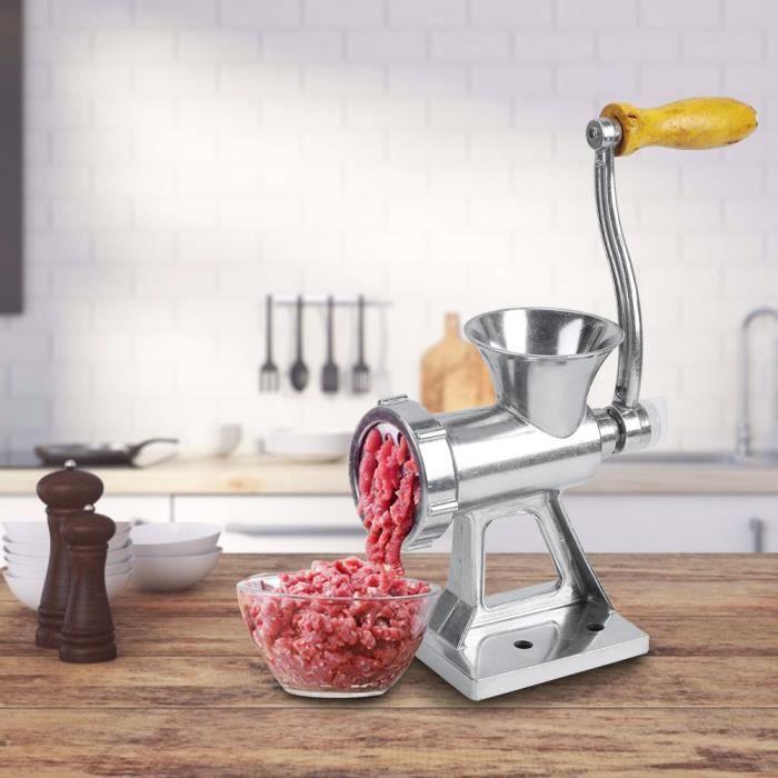 Hachoir à viande manuel, ménage en alliage d'aluminium durable robuste pour la machine de broyage de viande à manivelle de