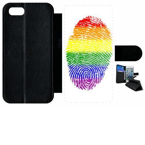 Etui a rabat - Plastique - Noir Apple iPhone 7 59 EMPREINTE DIGITALE DRAPEAU GAY PRIDE