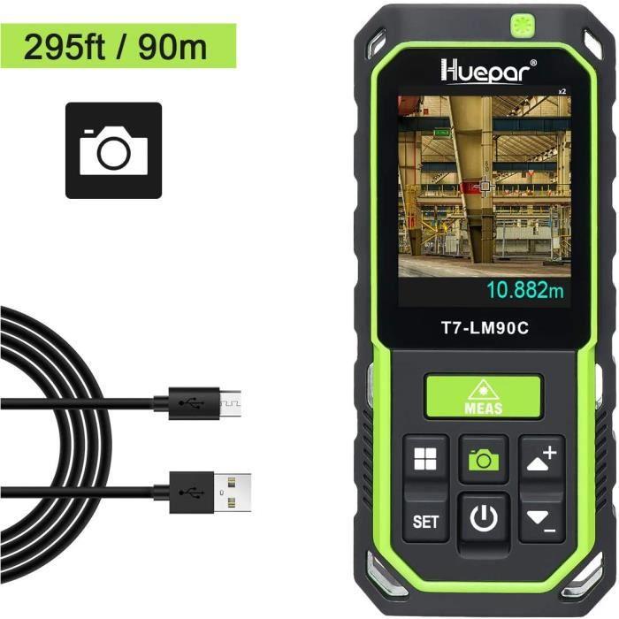 Huepar Télémètre Laser avec Caméra Zoom 2X/4X Mesure Distance Laser Haute Précision 90M 17 Modes de Mesure Capteur Inclinaison-LM90C