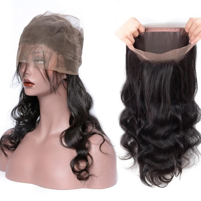 16-Perruque 360 Lace Frontal Closure naturelle Body Wave cheveux humains