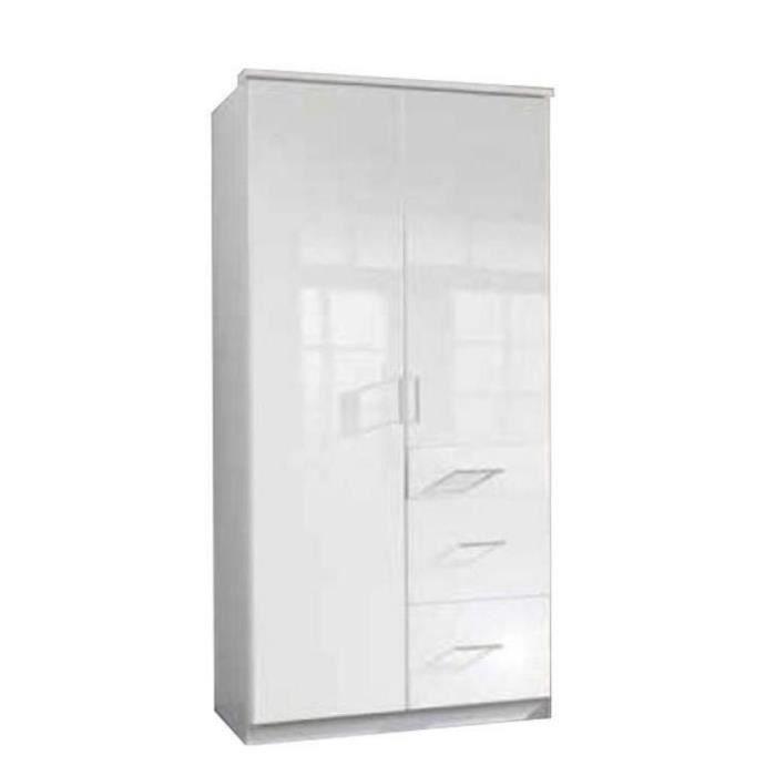 Armoire COOPER 2 portes battantes et 3 tiroirs largeur 91 coloris laqué blanc / blanc blanc MDF Inside75