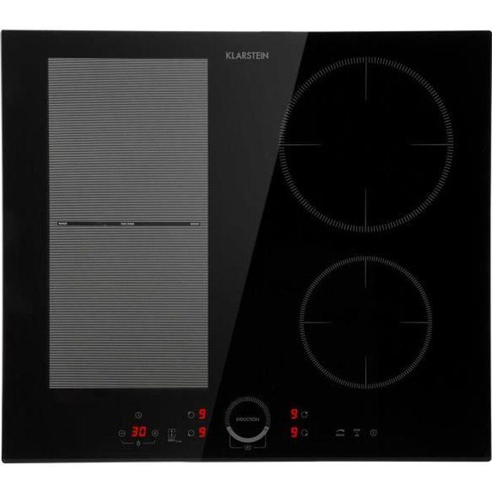 Klarstein Delicatessa 60 Hybrid Table de cuisson à induction encastrable - 4 zones - 7000W de puissance max. - Vitrocéramique noire