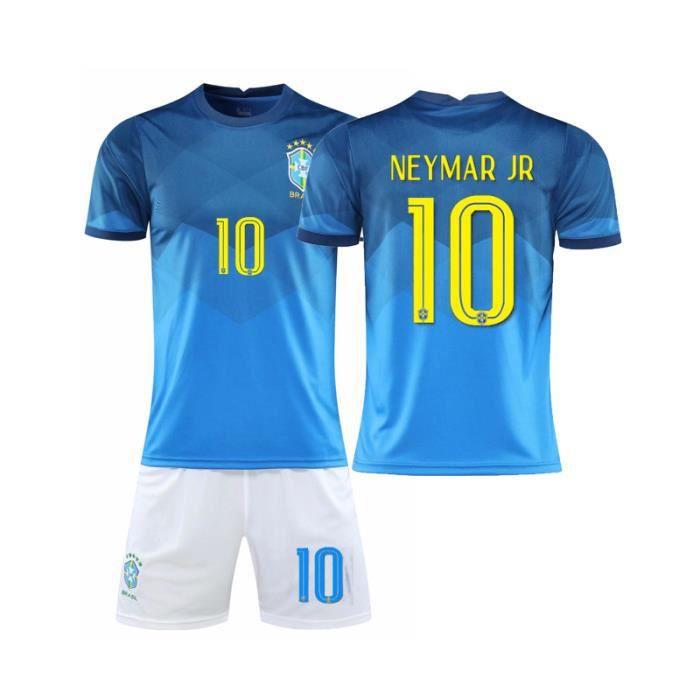 10282021Nouveau maillot de l'équipe nationale de football du Brésil n°10 Maillot bleu de Neymar adulte enfants maison Jaune