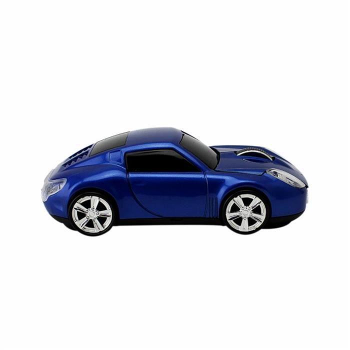 Modèle de souris sans fil de forme de conception de voiture Souris de modélisation automobile de voiture pour PC, bleu
