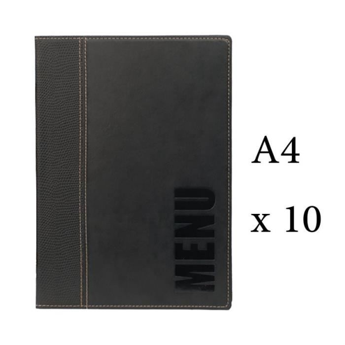 Lot 10 protège-menu Tendance format A4 couleur noir - Porte menu hôtel restaurant - Securit 6 + 2 (14 vues totales) Similicuir