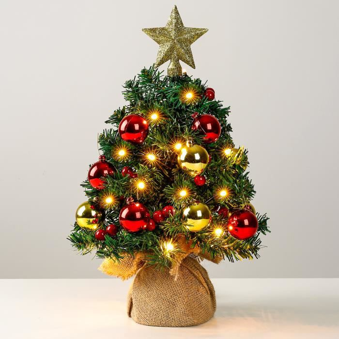 Yorbay Sapin de Noël Artificiel mini, 40 cm Petit Sapin de Noël de Table LED 2.8m Guirlandes Lumineuses, 10 Boules de Noel et Etoile