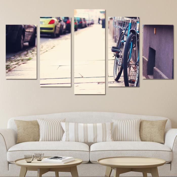 TABLEAU - TOILE 5 pcs-set Vélos décoration peinture murale art toi