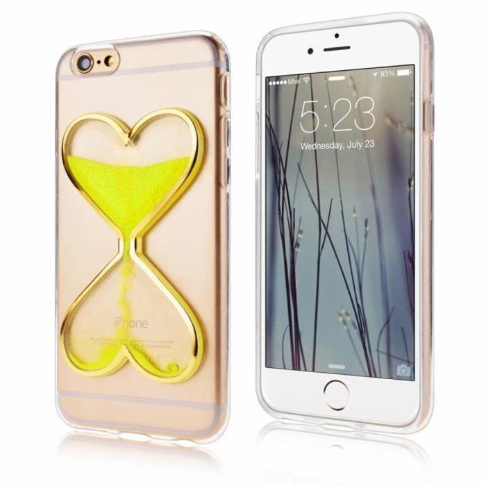 coque iphone 6s plus coeurs jaune sables mouvants