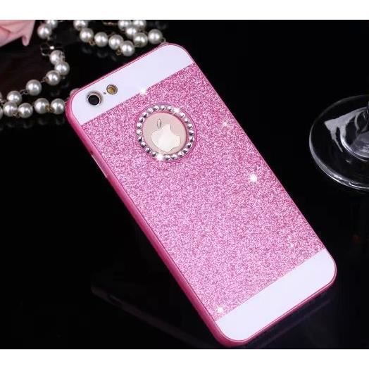 coque iphone 5 5s paillettes rose bling bling diam