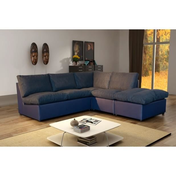 canap d 39 angle modulable avanti bleu marine achat vente canap sofa divan cdiscount. Black Bedroom Furniture Sets. Home Design Ideas