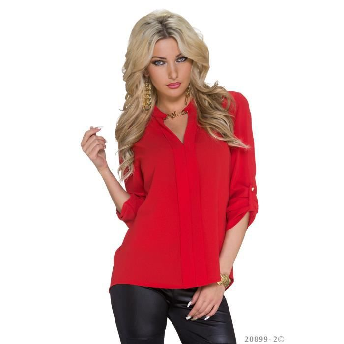 top blouse chemise chemisier rouge femme rouge achat. Black Bedroom Furniture Sets. Home Design Ideas