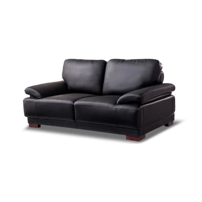 canap 2 places en cuir noir glam achat vente canap sofa divan cdiscount. Black Bedroom Furniture Sets. Home Design Ideas