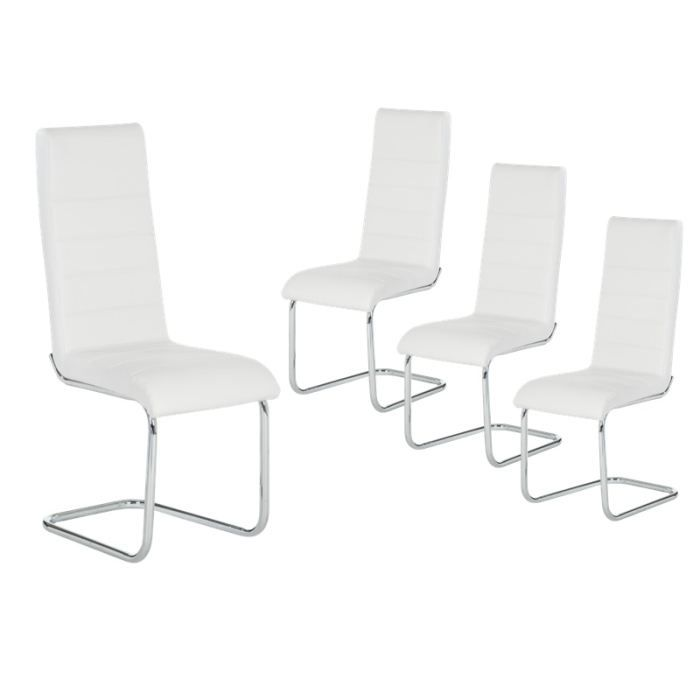 denver lot 4 chaises blanches achat vente chaise m tal bois pvc cdiscount. Black Bedroom Furniture Sets. Home Design Ideas