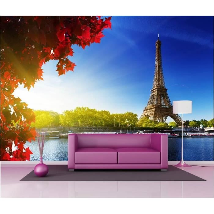 stickers muraux g ant d co tour eiffel paris dimensions 265x180cm achat vente stickers. Black Bedroom Furniture Sets. Home Design Ideas