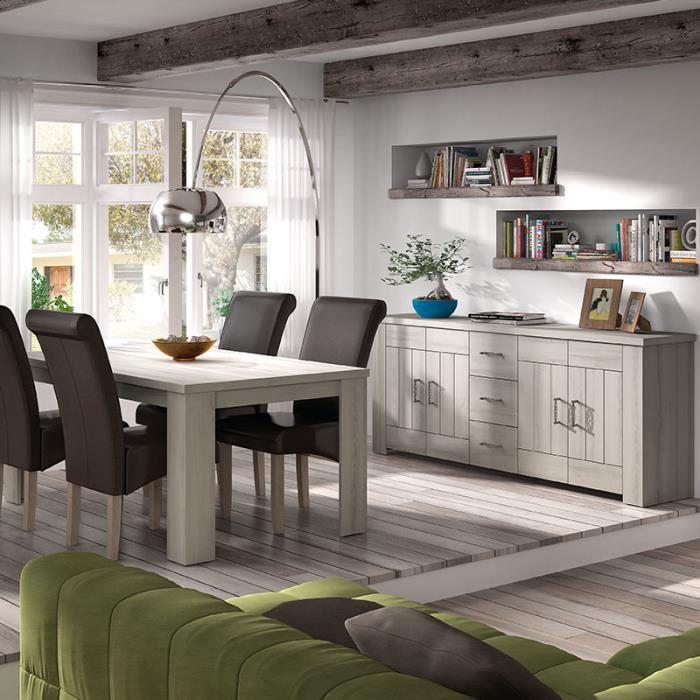Salle à manger contemporaine couleur bois clair PAULINE Beige L 180 x P 90  x H 78 cm